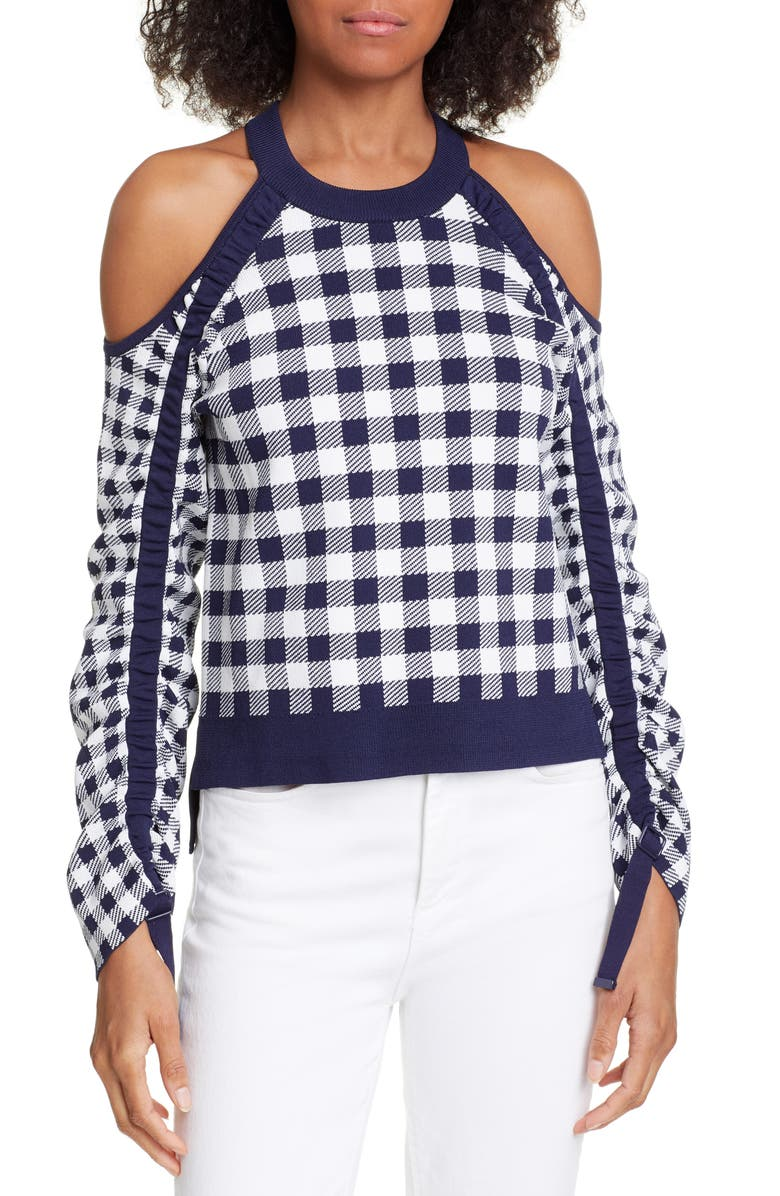 JONATHAN SIMKHAI Ruched Sleeve Gingham Sweater, Main, color, 400