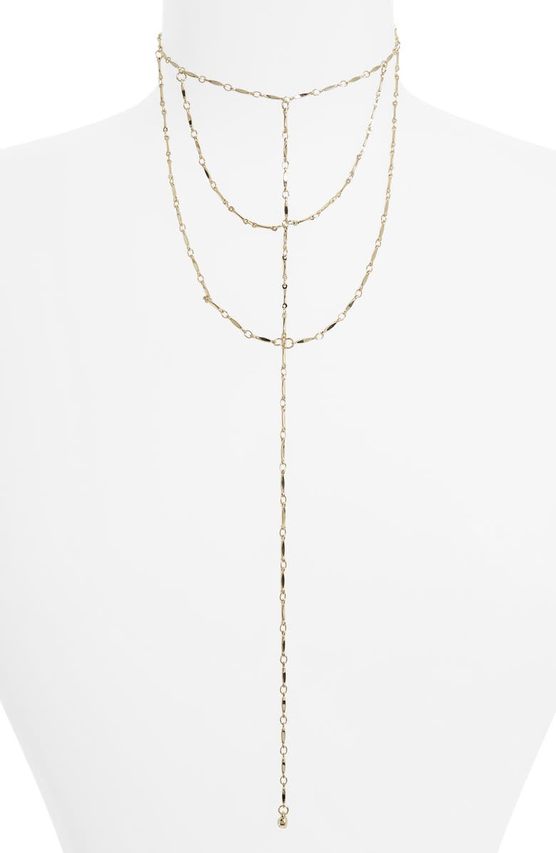 TOPSHOP Layered Lariat Necklace, Main, color, 710