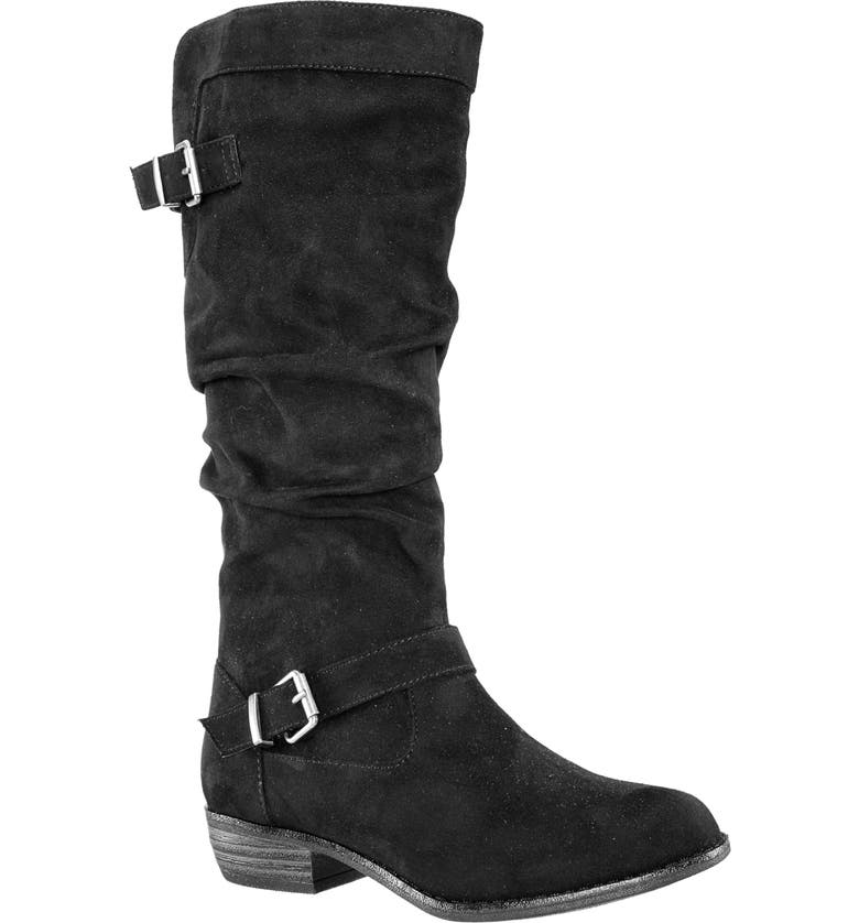 NINA Meris Slouch Boot, Main, color, BLACK BURNISH MICRO SUEDE