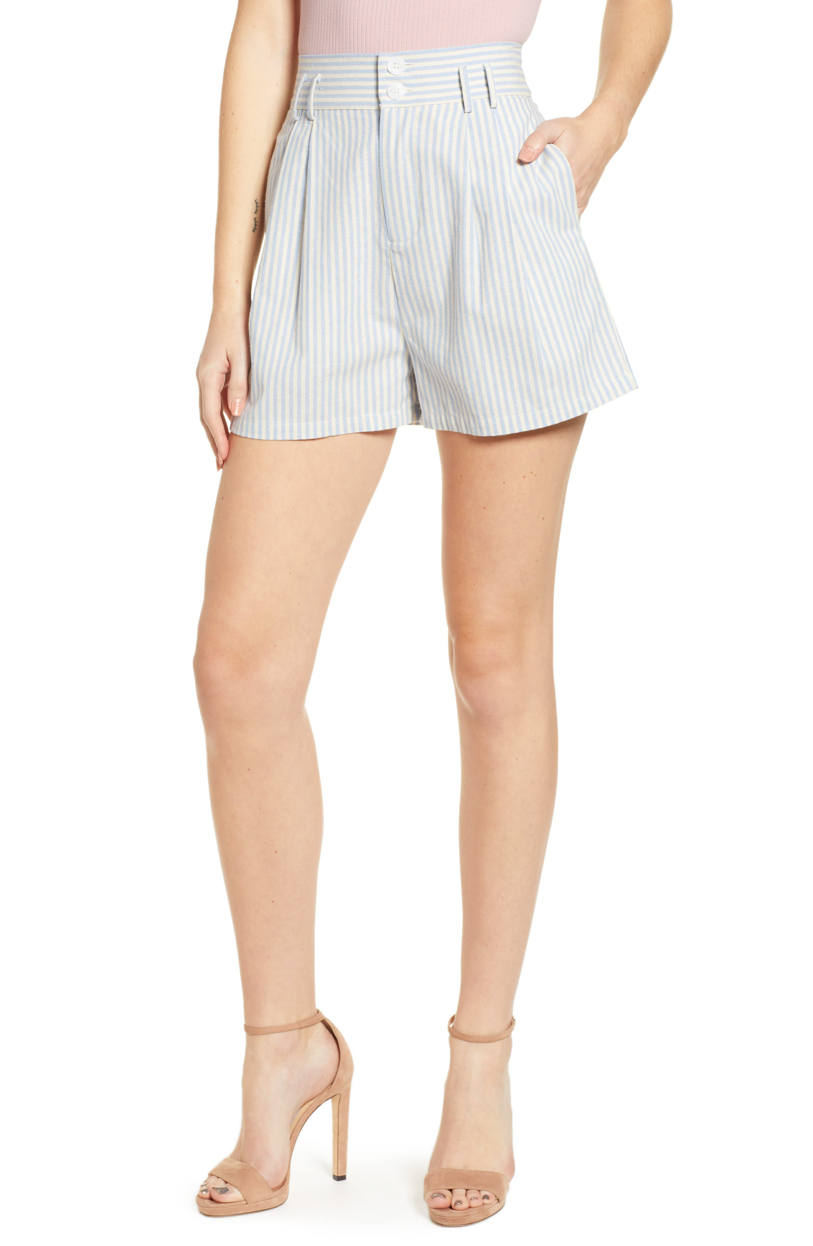 1930s Clothing Womens English Factory Striped Bermuda Shorts $58.00 AT vintagedancer.com