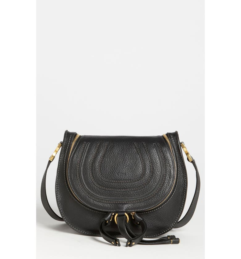 CHLOÉ 'Marcie' Leather Crossbody Bag, Main, color, 001