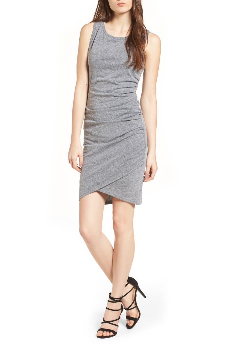 LEITH Ruched Body-Con Tank Dress, Main, color, GREY CLOUDY HEATHER