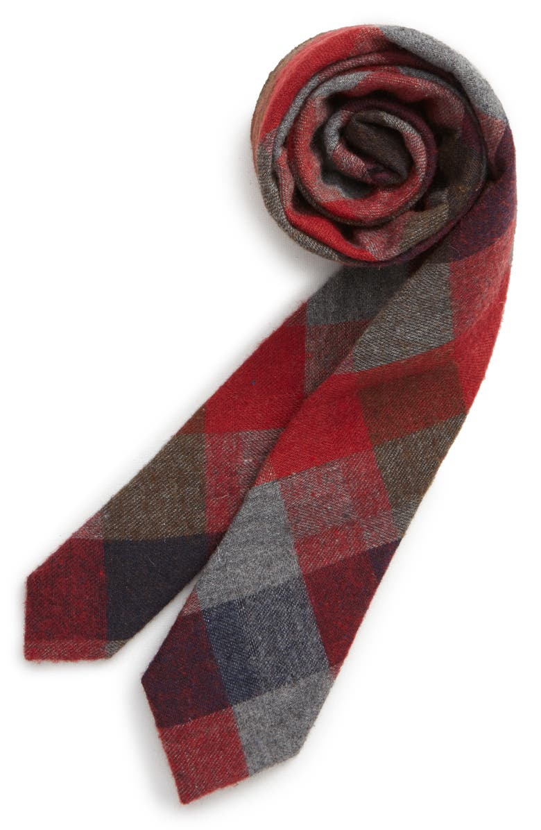 NORDSTROM Paxton Plaid Cotton Tie, Main, color, RED