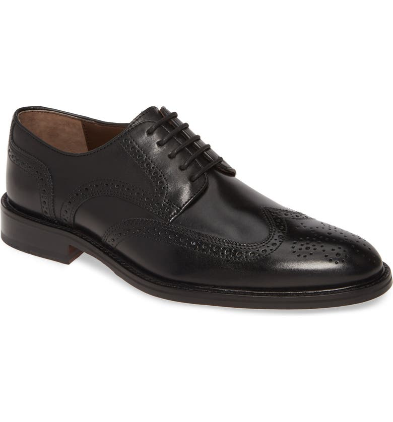 JOHNSTON & MURPHY Daley Wingtip Derby, Main, color, BLACK LEATHER