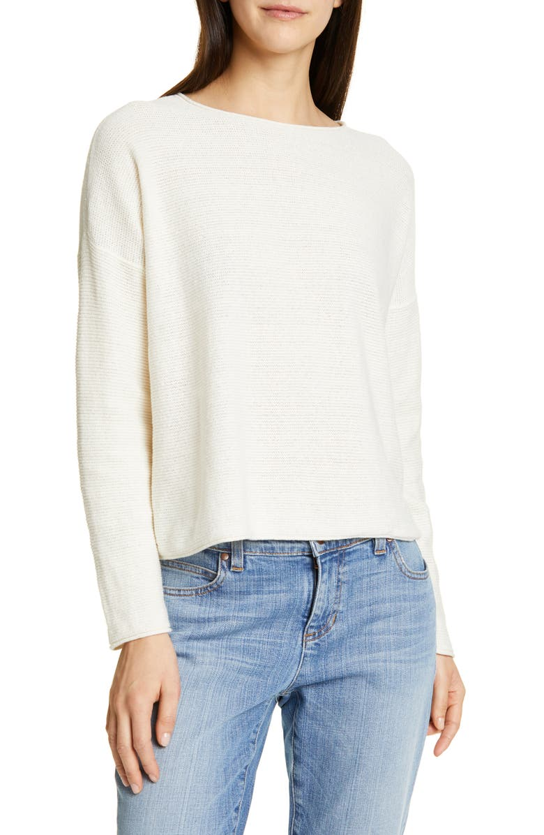 EILEEN FISHER Boxy Cotton Blend Sweater, Main, color, 121