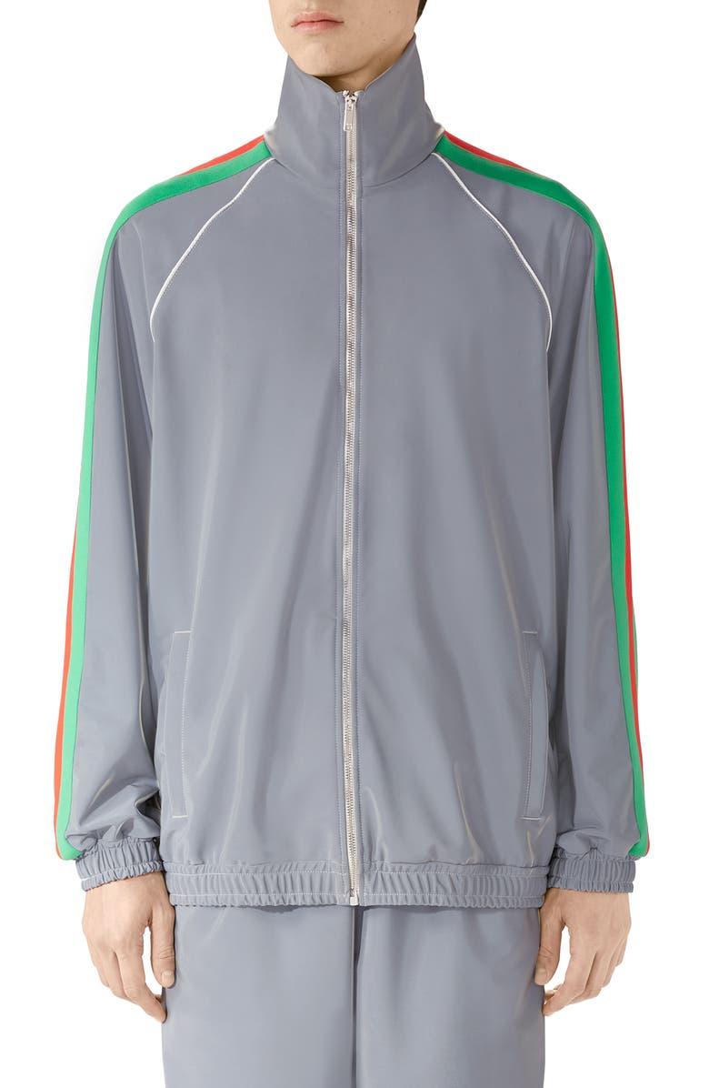 GUCCI Iridescent Stretch Nylon Track Jacket, Main, color, SILVER/MC