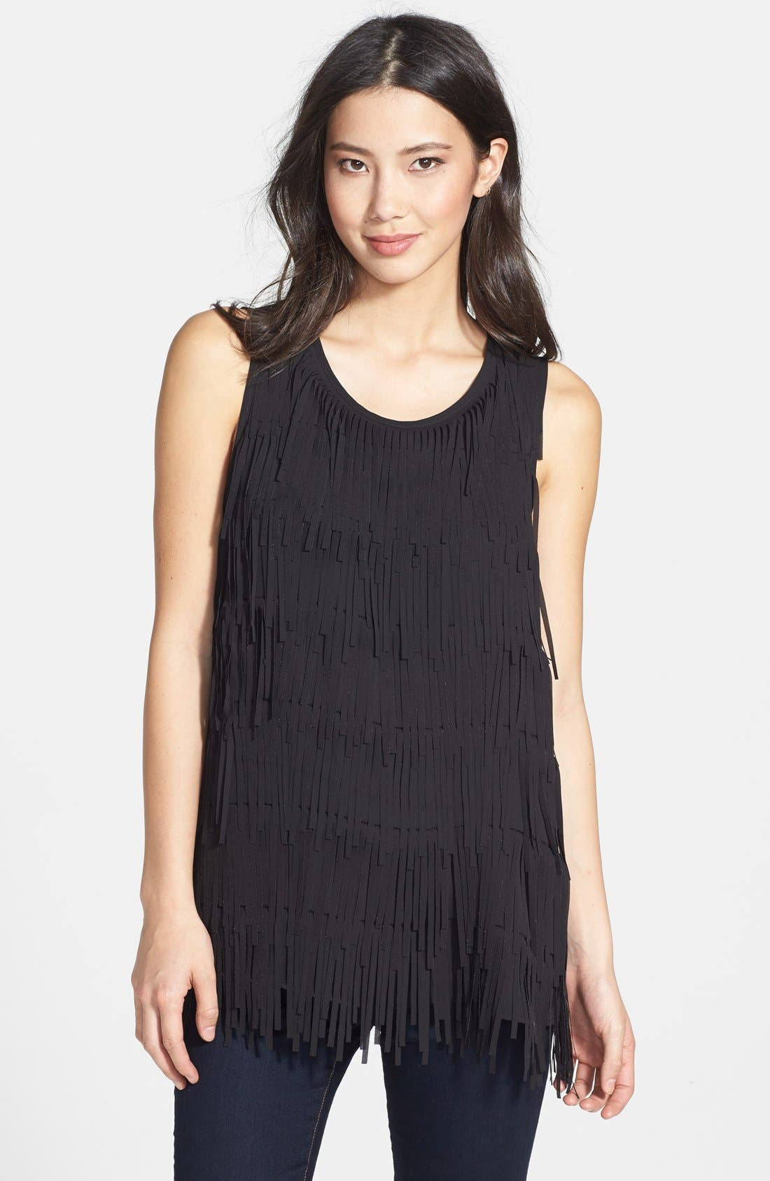 Fringe Front Sleeveless Top, Main, color, 001