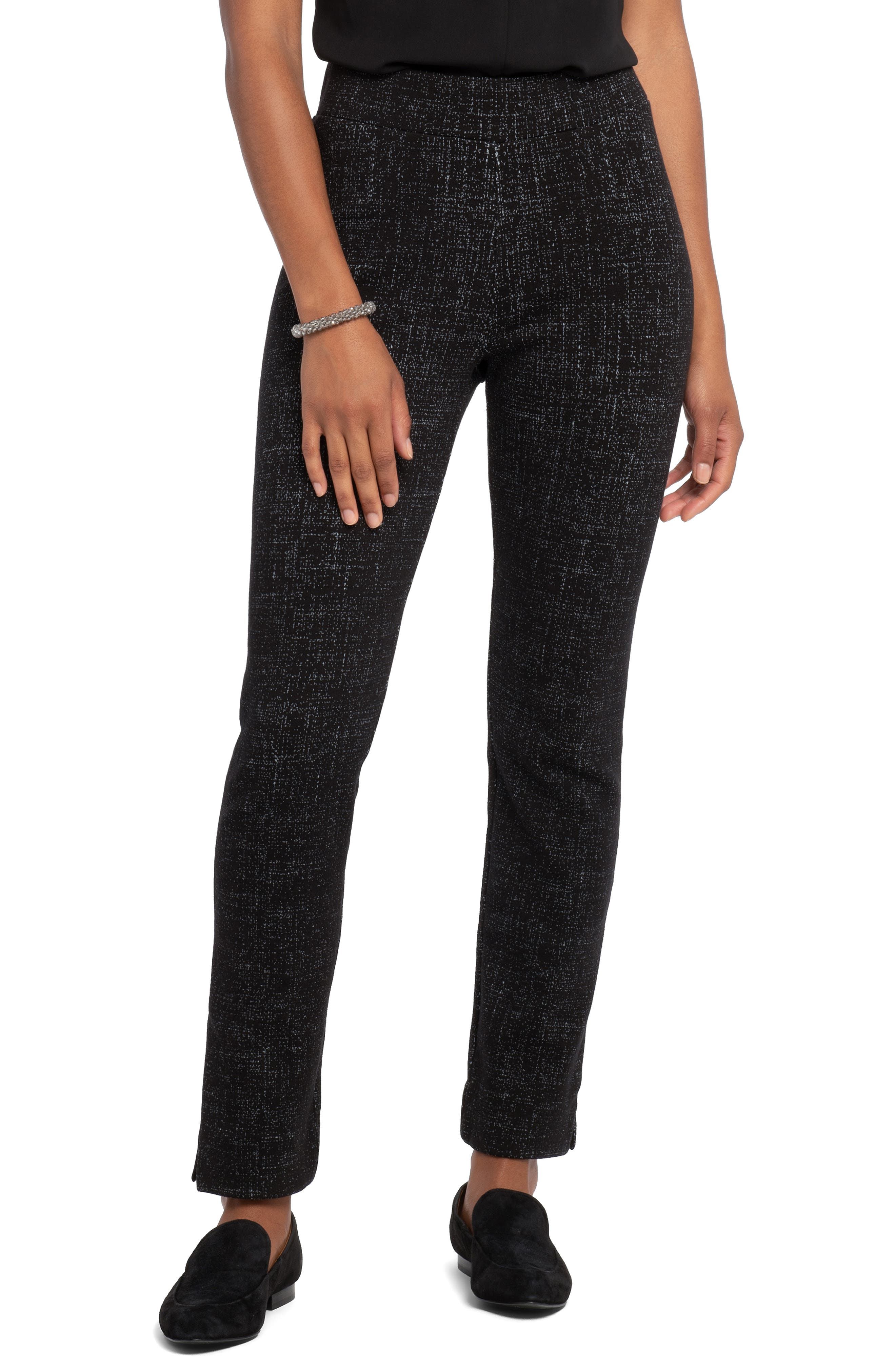 Pants with office polish are made as comfortable as leggings in a pull-on style of cotton-blend knit with a tweedy print and side-slit hems. Style Name: Nic+Zoe Sidetrack Skinny Pants. Style Number: 5951288. Available in stores.