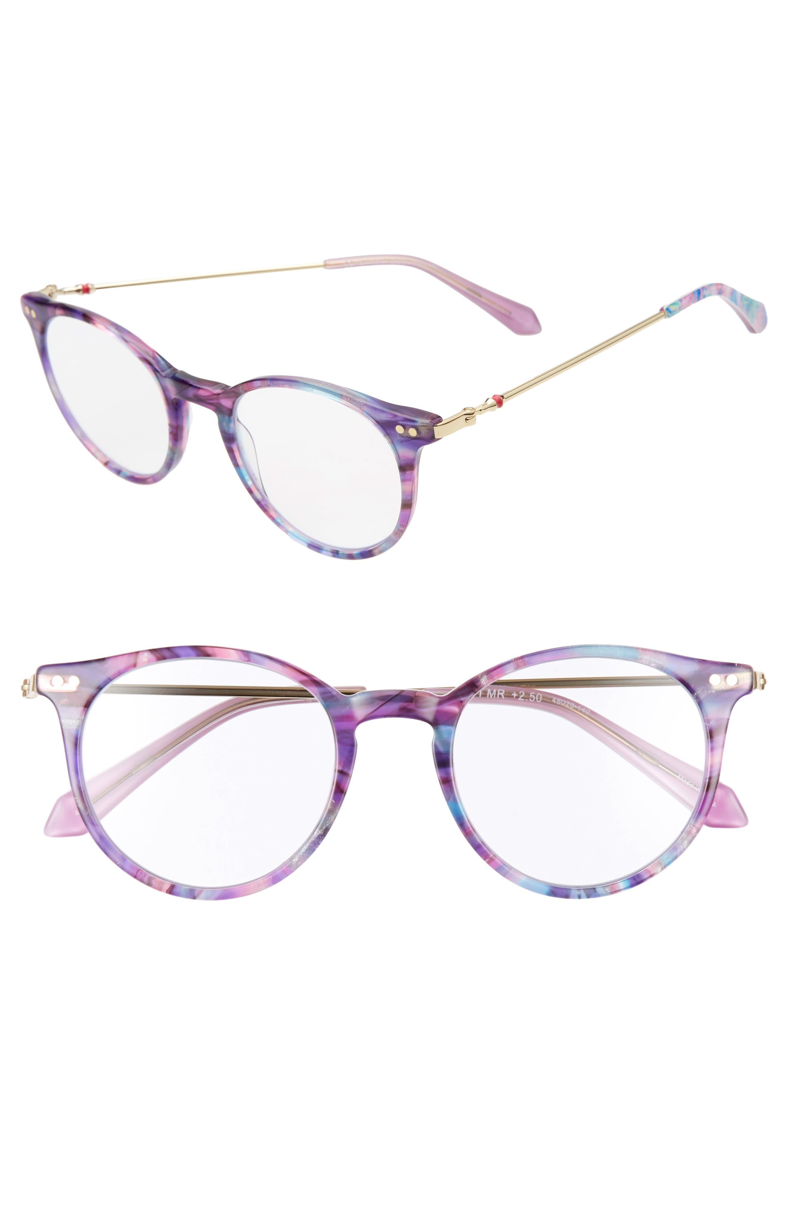 Grab a book and get ready for a day lounging seaside with these reading glasses in a classically chic silhouette. Style Name: Lilly Pulitzer Coast 48mm Round Reading Glasses. Style Number: 5984856. Available in stores.