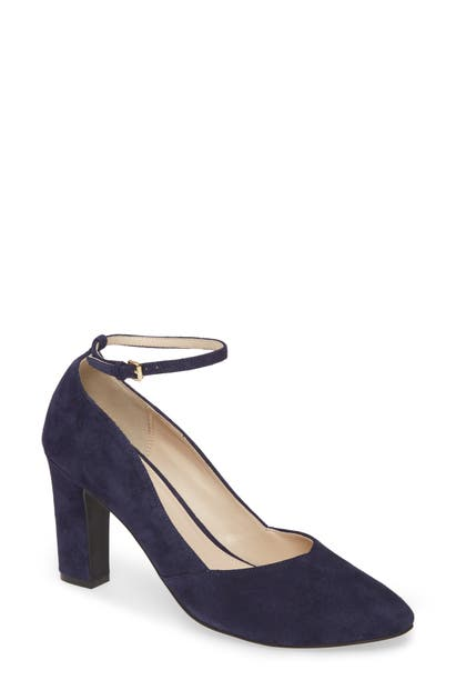 Cole Haan Kaelyn Ankle Strap Pump In Marine Blue Suede