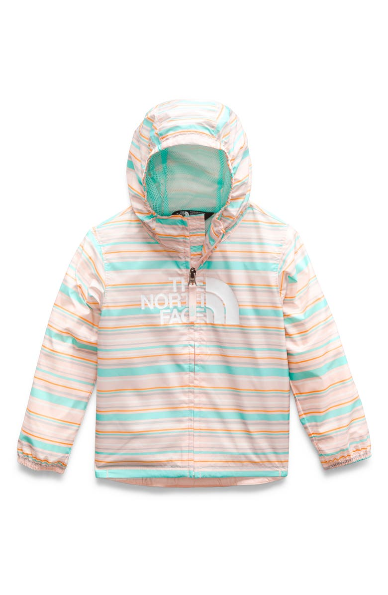 THE NORTH FACE Flurry Hooded Wind Resistant Jacket, Main, color, PINK SALT THIN STRIPE