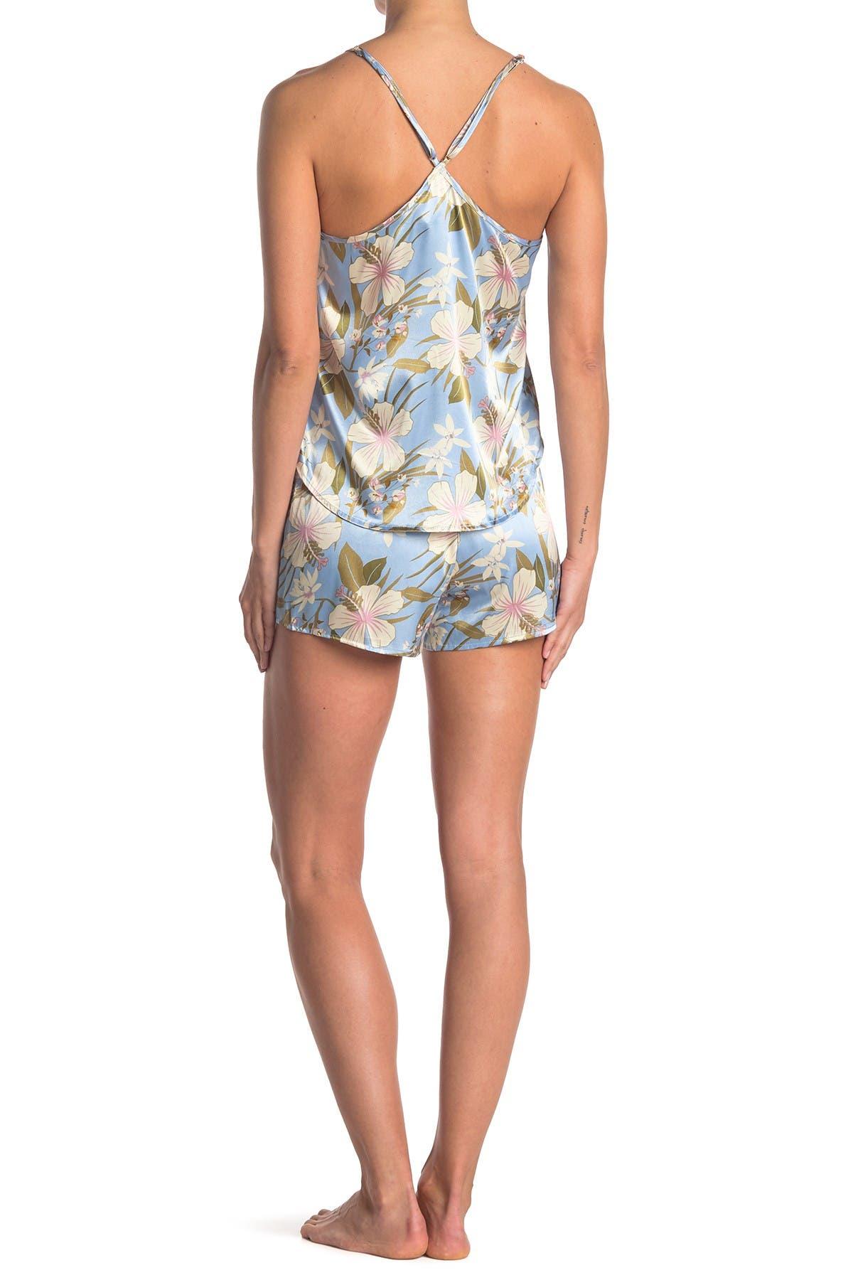 Image of COZY ROZY Tropical Dreams Floral Satin Camisole & Shorts 2-Piece Pajama Set