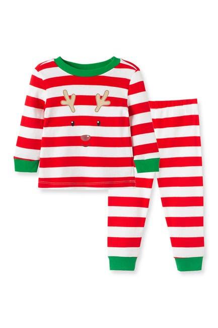 Image of Little Me Striped Reindeer Long Sleeve Cotton Pajama Set
