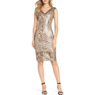 Tadashi Shoji Sequin & Lace Sheath Dress, Metallic