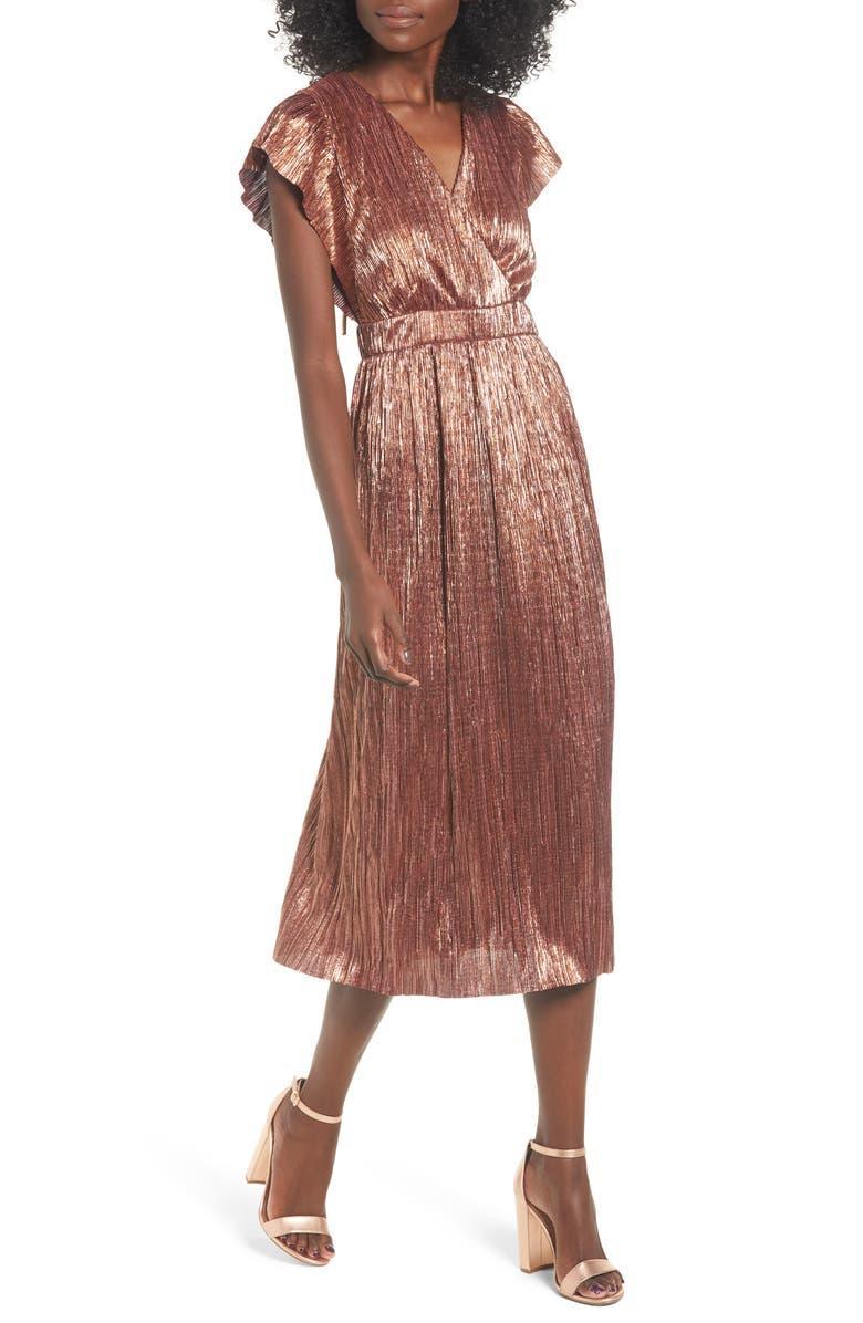 LEITH Metallic Open Back Midi Dress, Main, color, 958