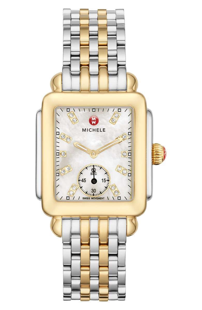 MICHELE Deco Mid Diamond Dial Watch Head & Bracelet, 29mm, Main, color, GOLD/ MOP