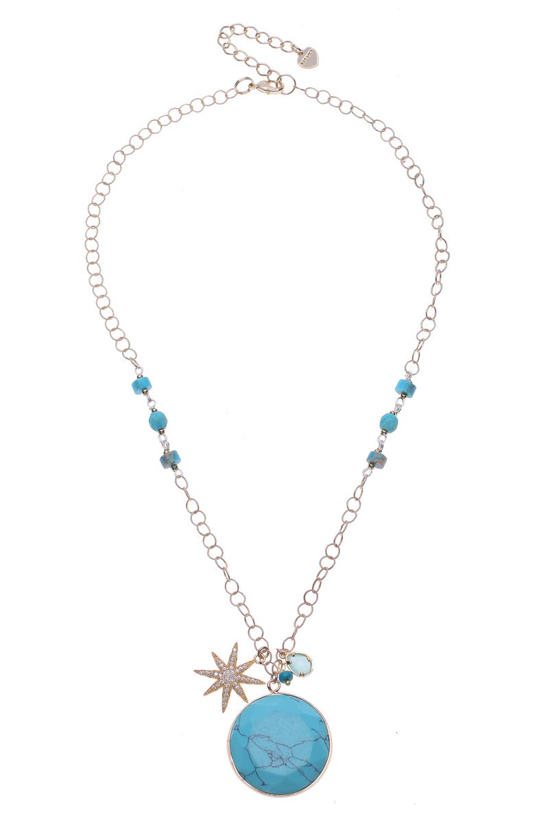 NAKAMOL DESIGN Pendant & Star Necklace, Main, color, TURQUOISE/ GOLD
