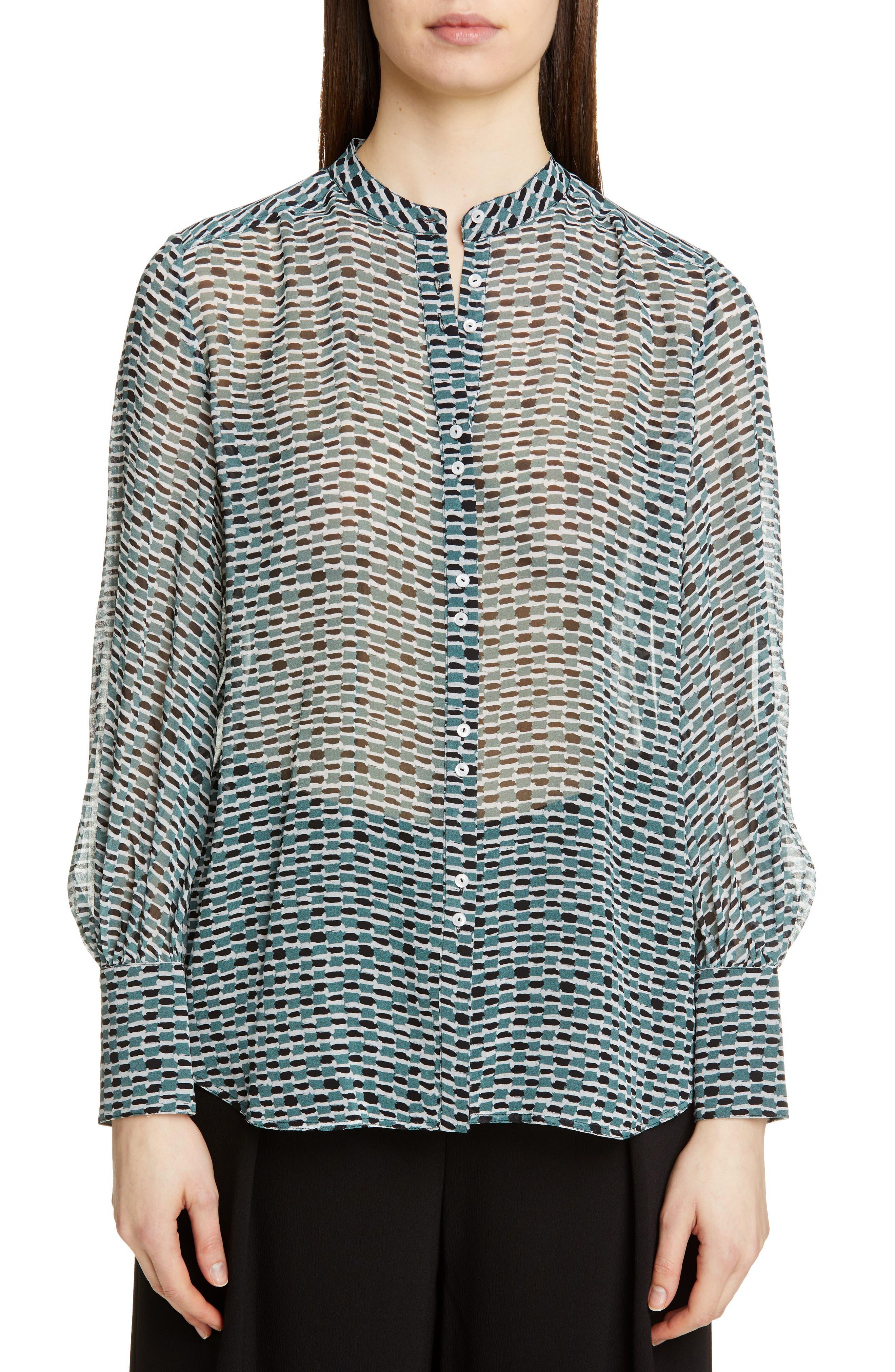 Print Crepe Chiffon Blouse, Main, color, BLUESTONE/BLACK WOVEN DOT