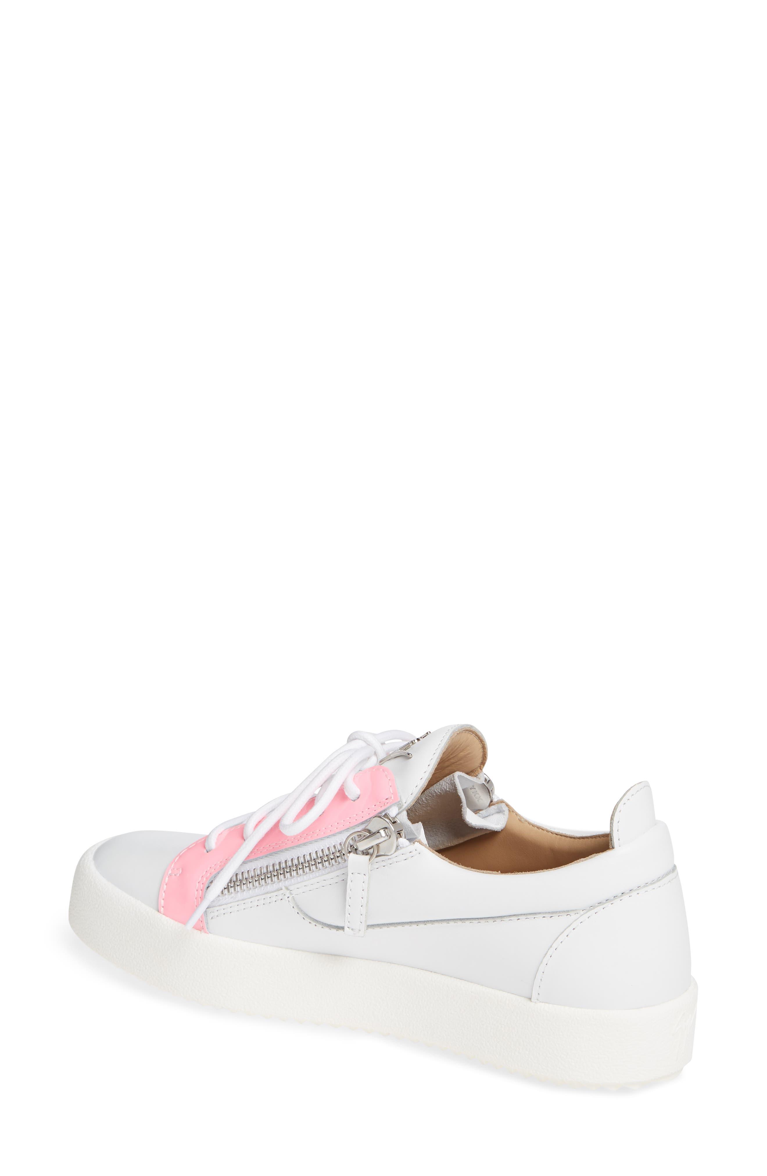 ,                             Low Top Sneaker,                             Alternate thumbnail 2, color,                             WHITE/ FUCHSIA