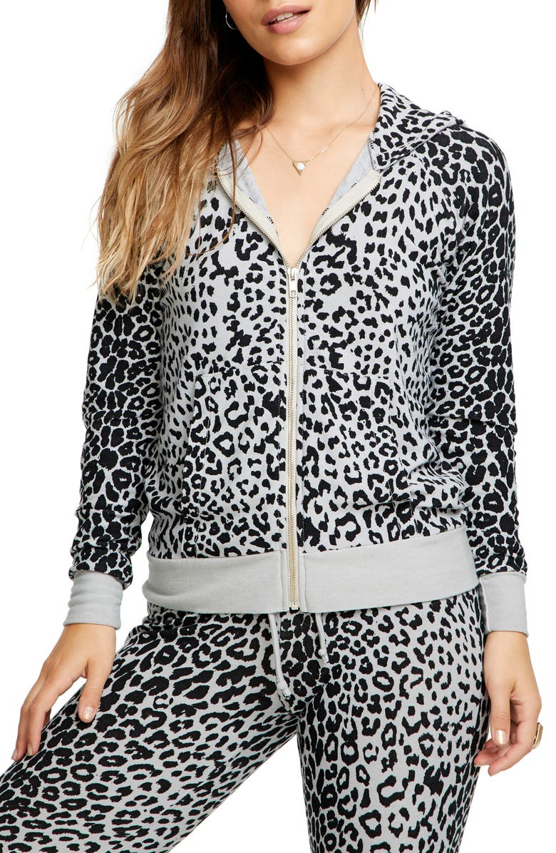 CHASER Cozy Leopard Zip Hoodie, Main, color, PLATINUM