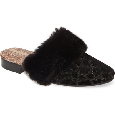 Taryn Rose Brailyn Faux Fur Trim Mule, Black
