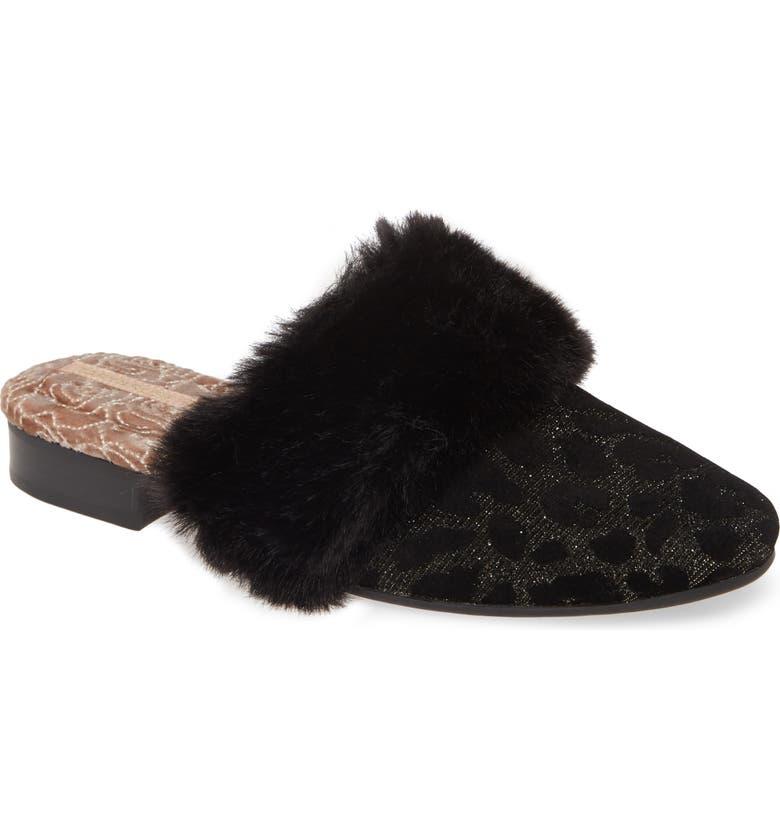 TARYN ROSE Brailyn Faux Fur Trim Mule, Main, color, BLACK VELVET