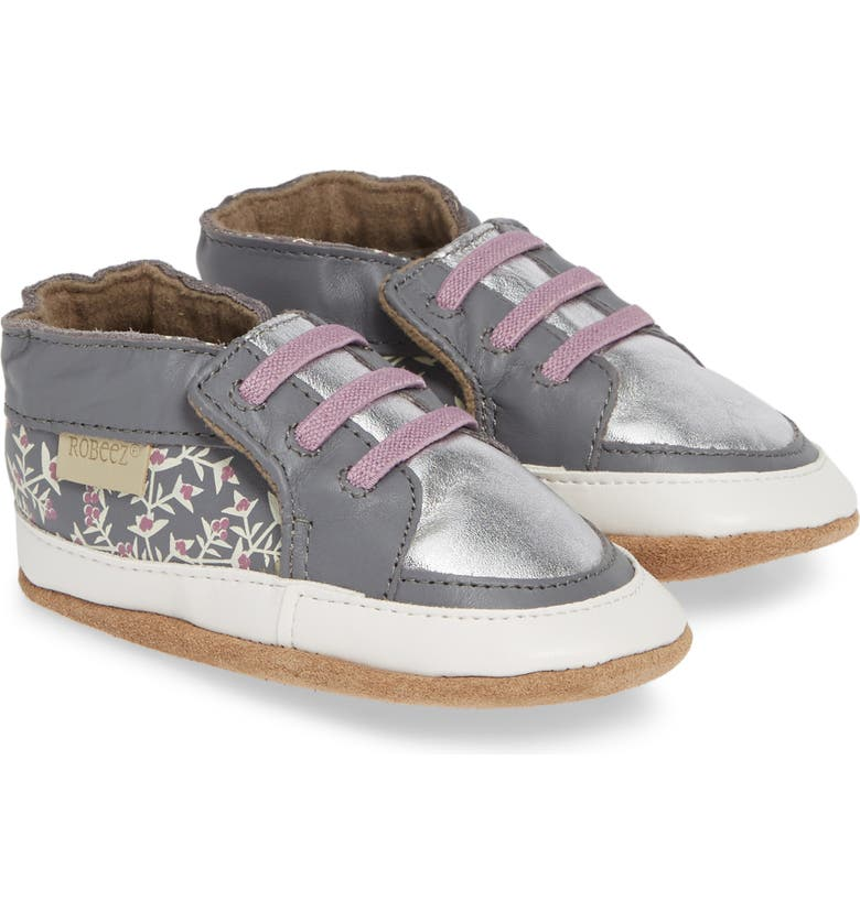 ROBEEZ<SUP>®</SUP> Sassy Sophie Crib Sneaker, Main, color, GREY