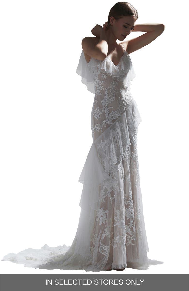 WATTERS Nephele Beaded Lace & Net Wedding Dress, Main, color, IVORY/ BLUSH
