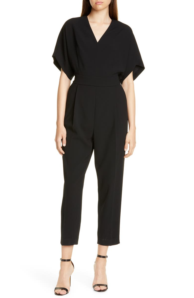 JUDITH & CHARLES Recco Crop Jumpsuit, Main, color, BLACK