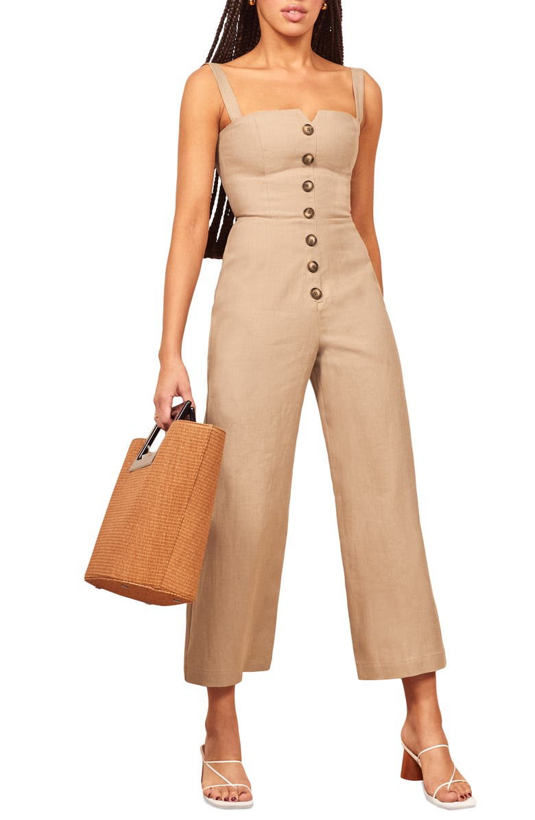 REFORMATION Kass Linen Jumpsuit, Main, color, 250