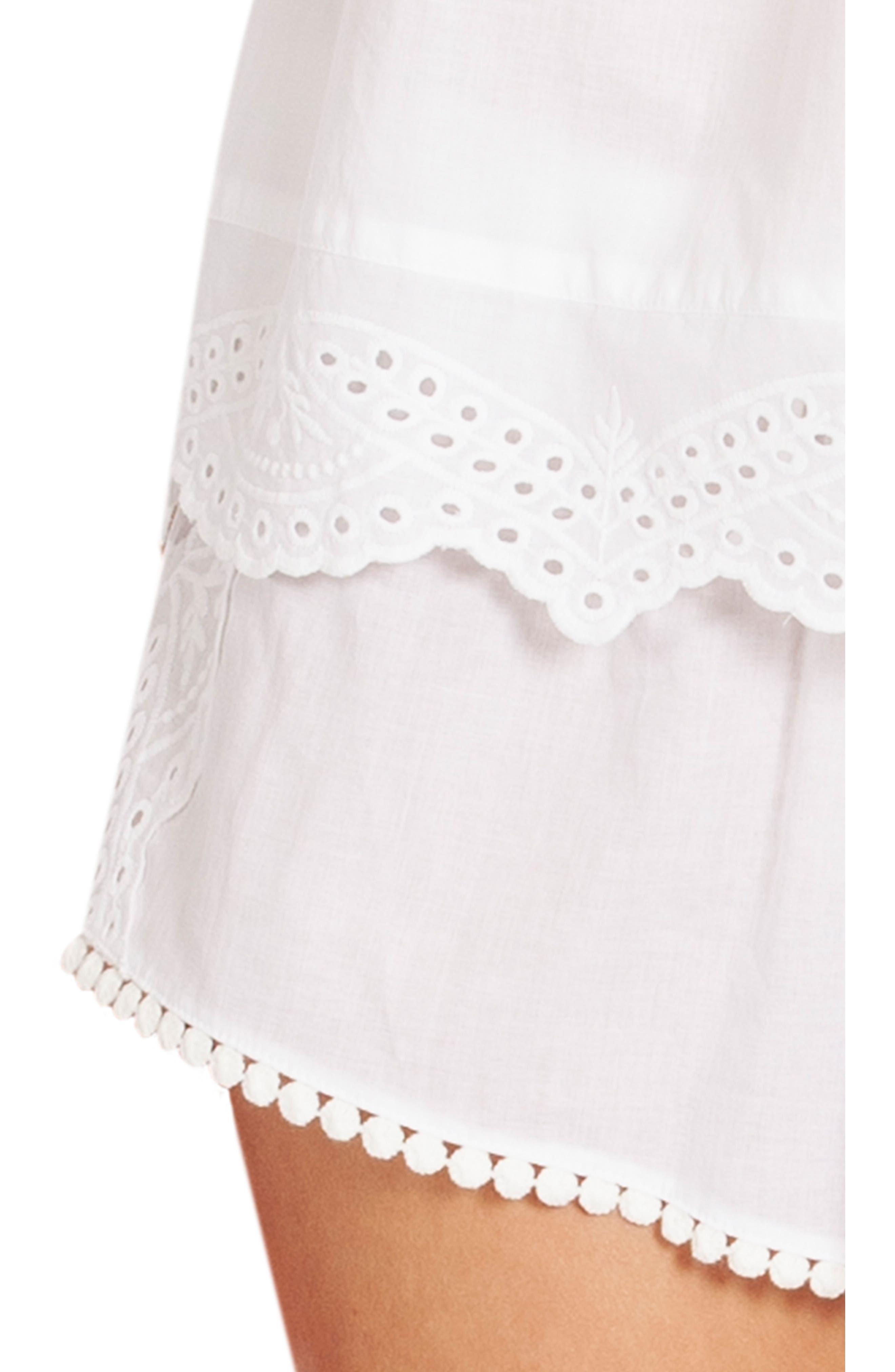,                             Eyelet Short Pajamas,                             Alternate thumbnail 4, color,                             WHITE