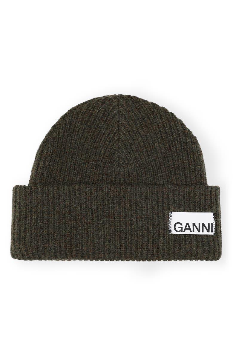 GANNI Ribbed Wool Blend Beanie, Main, color, KALAMATA