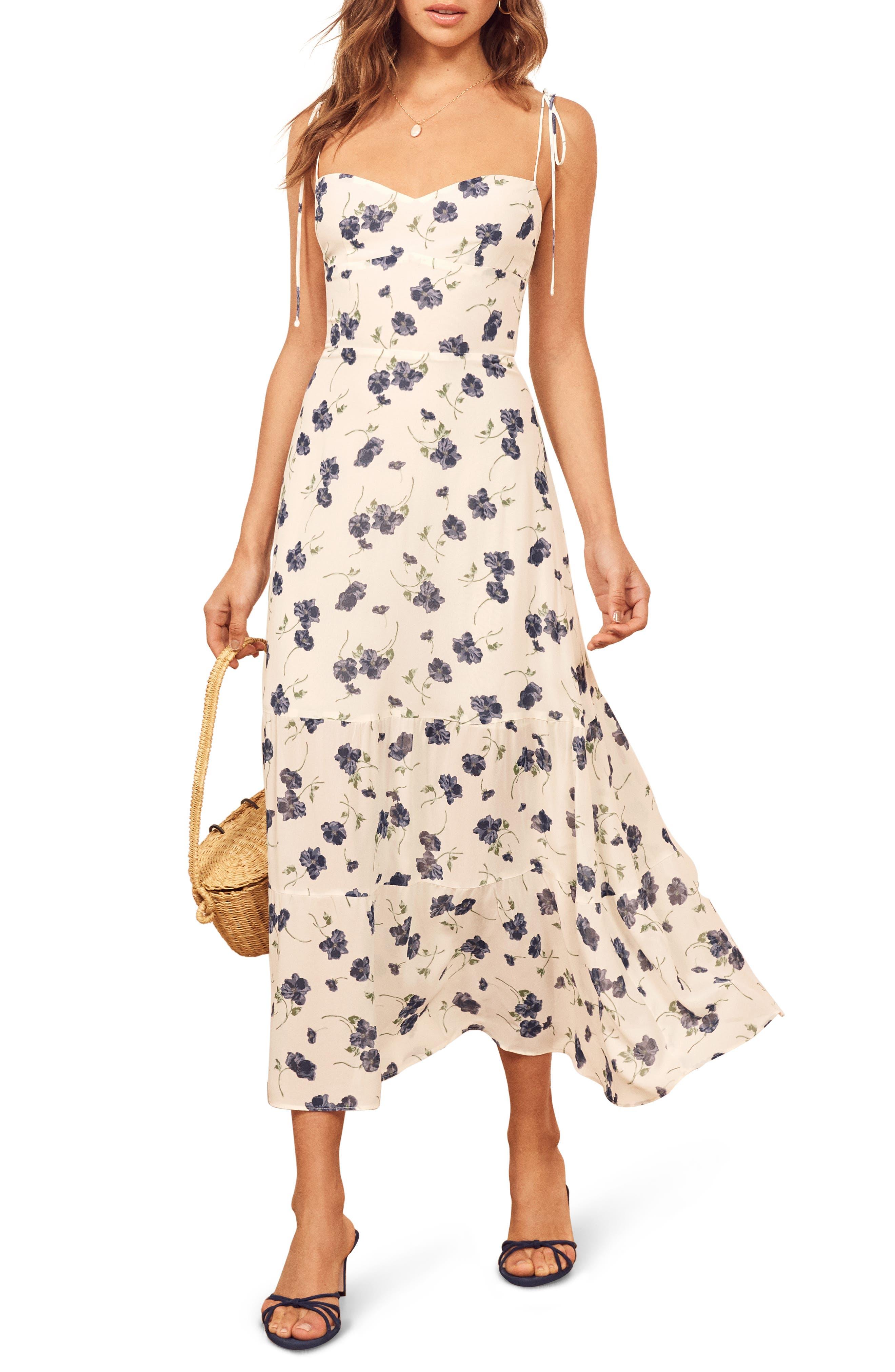 Reformation Emmie Floral Dress, White