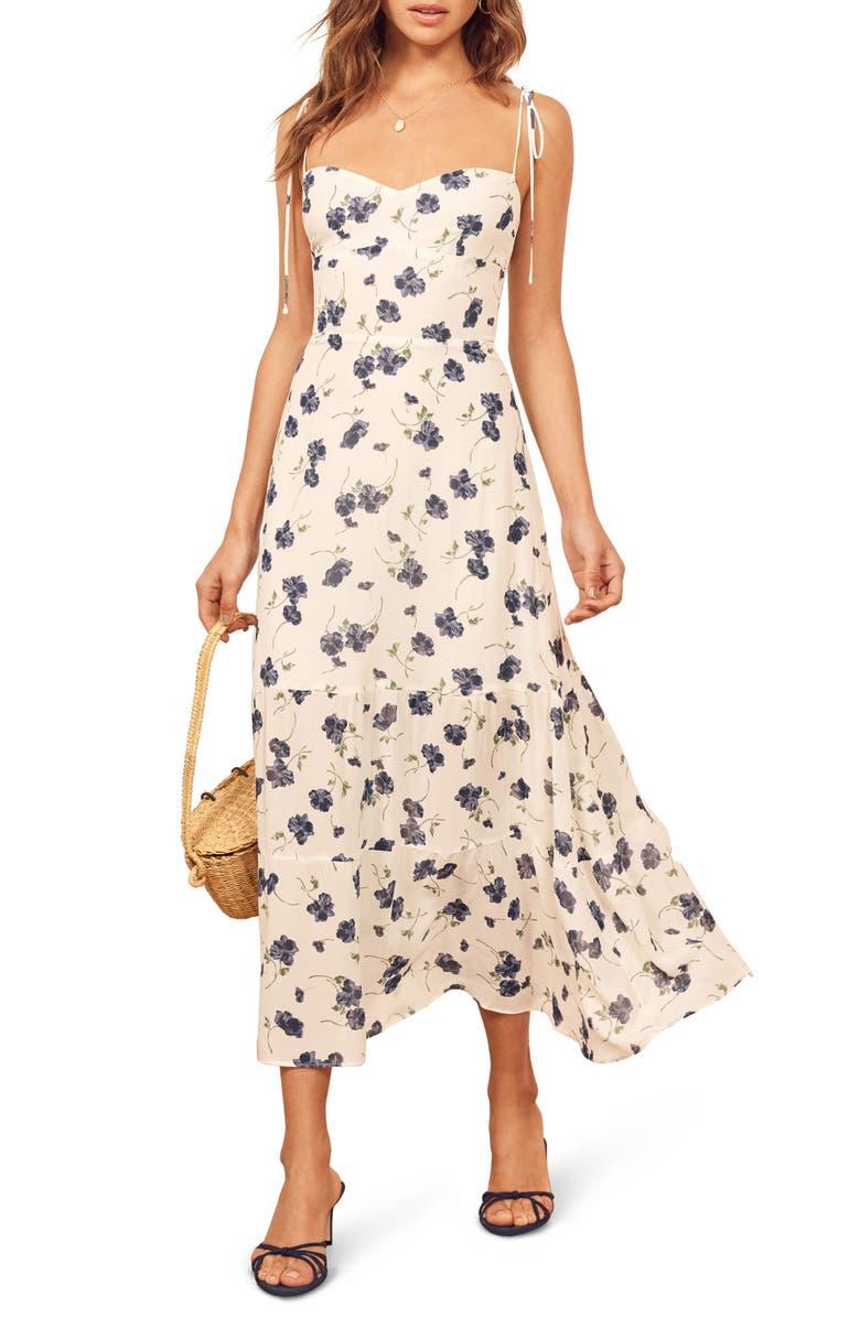 REFORMATION Emmie Floral Dress, Main, color, BLUBERRIES