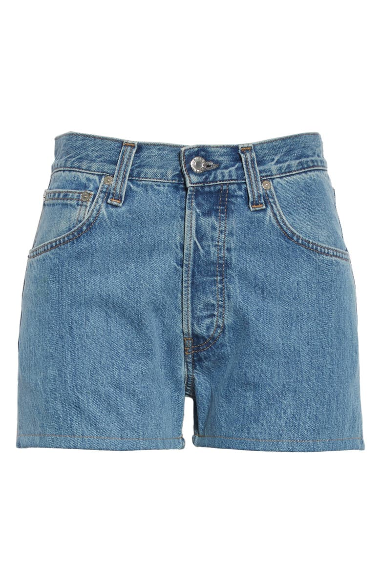 HELMUT LANG High Waist Denim Shorts, Main, color, ACC HI CONTRAST INDIGO