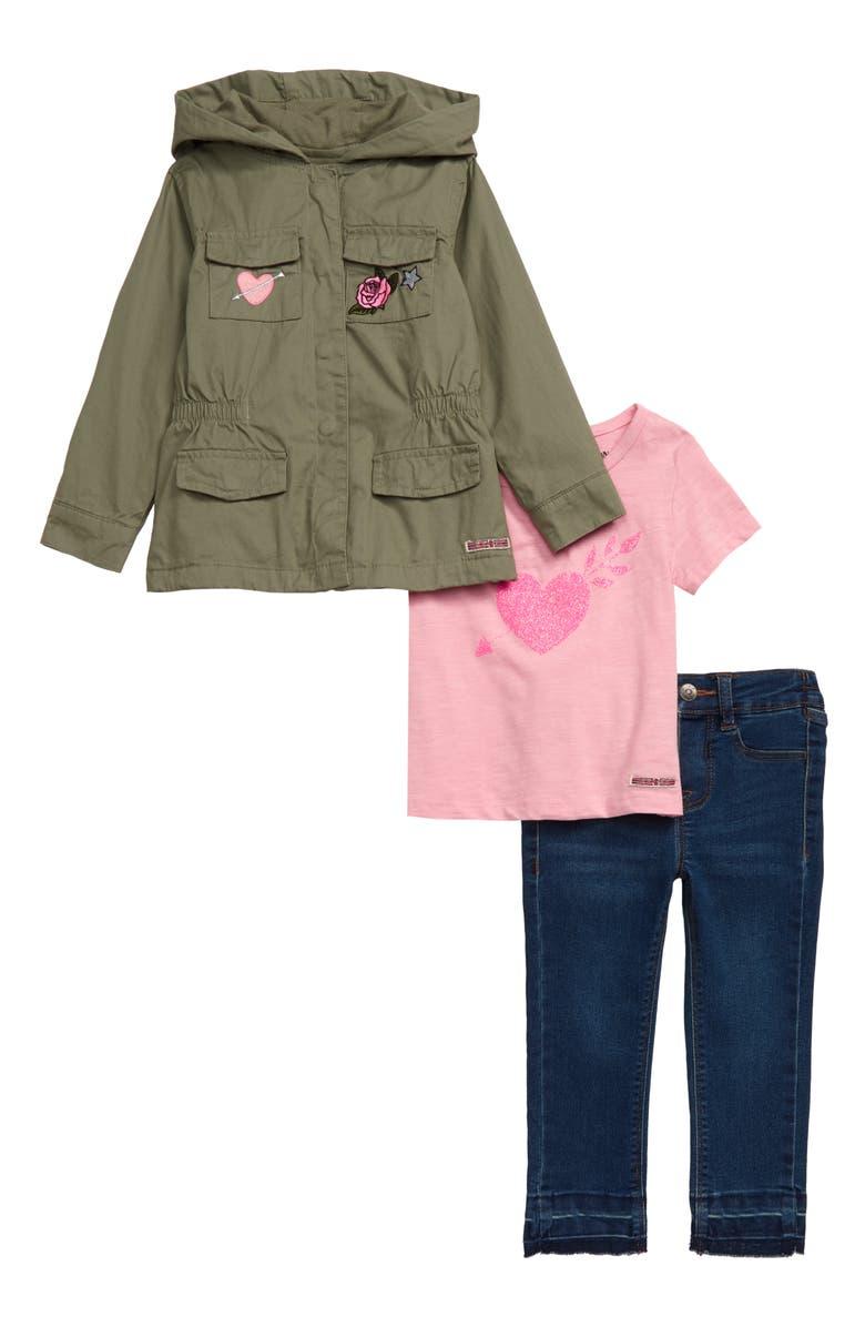 HUDSON KIDS Hooded Twill Jacket, Tee & Jeans Set, Main, color, DEPTH CHAR