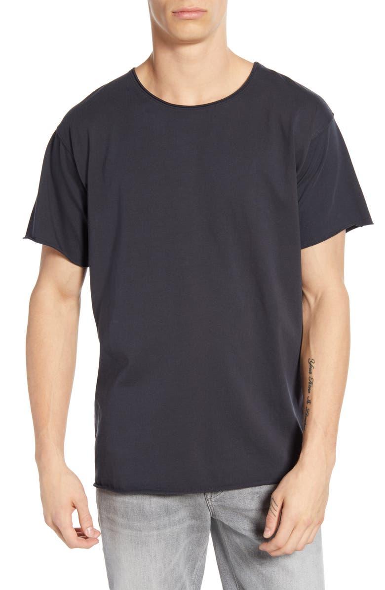SCOTCH & SODA Raw Edge Solid T-Shirt, Main, color, 001