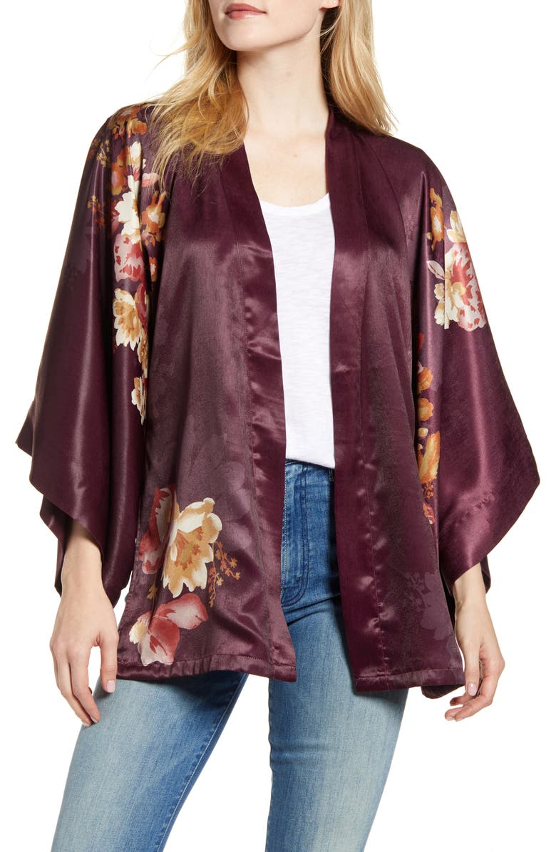 NORDSTROM Floral Satin Open Jacket, Main, color, BURGUNDY MINTHE KIMONO