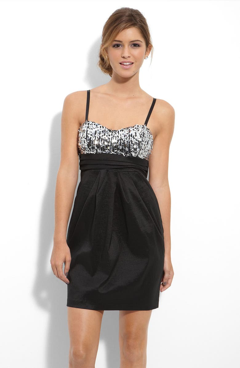 WAY-IN Sequin & Satin Dress, Main, color, 001