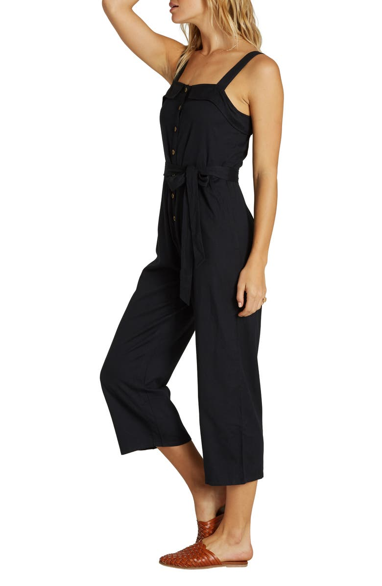 BILLABONG Sandy Toes Wide Leg Crop Jumpsuit, Main, color, BLACK