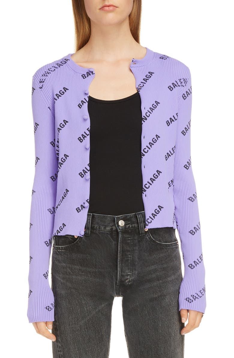 BALENCIAGA Logo Print Rib Knit Cardigan, Main, color, LILAC/ BLACK