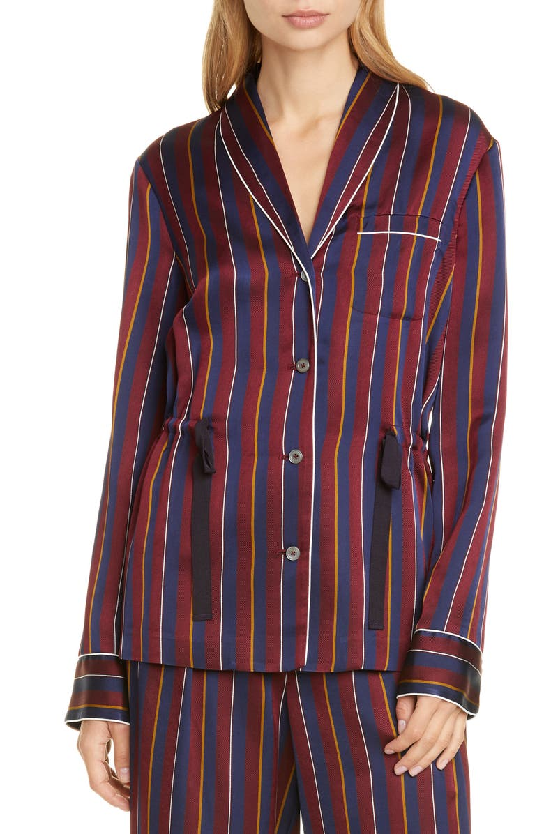 HILFIGER COLLECTION Tie Waist Pyjama Shirt, Main, color, CABERNET / MULTI