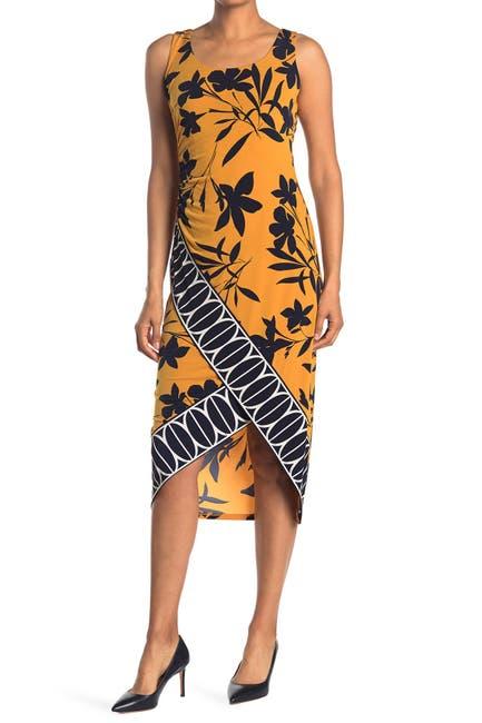 Image of London Times Batik Border Ruched Side Midi Dress