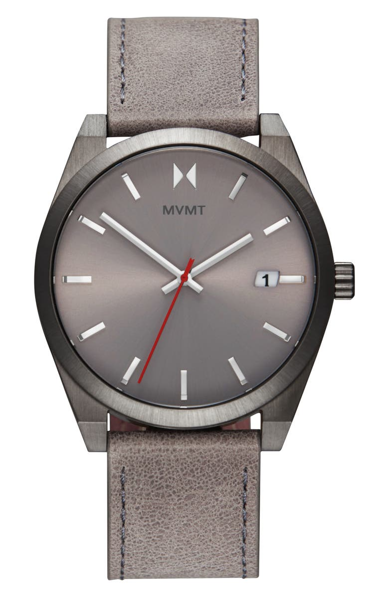MVMT Element Leather Strap Watch, 43mm, Main, color, GREY/ SILVER