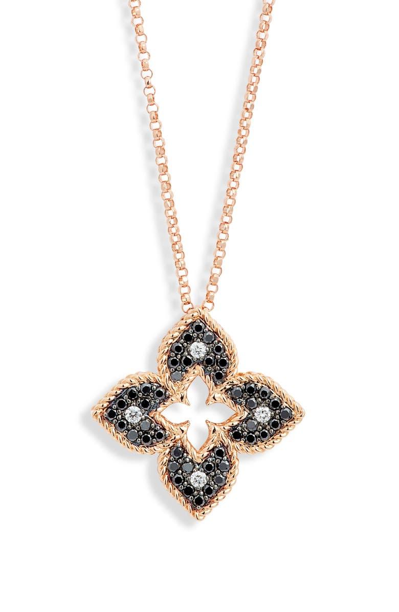 ROBERTO COIN Venetian Princess Diamond Pendant Necklace, Main, color, ROSEGOLD/DIAMOND/BLACKDIAMOND