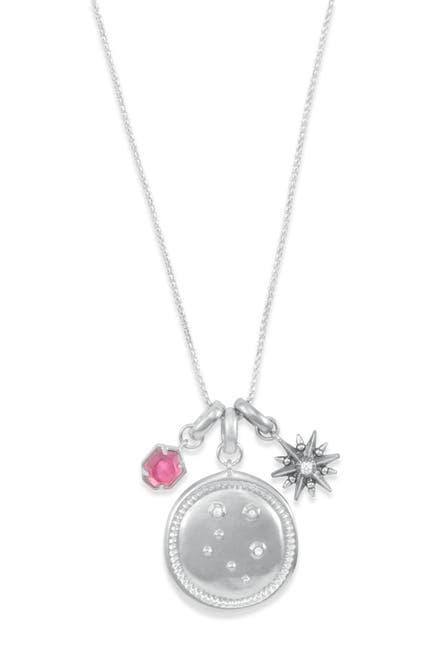 Image of Kendra Scott Rhodium Plated Libra Charm Necklace