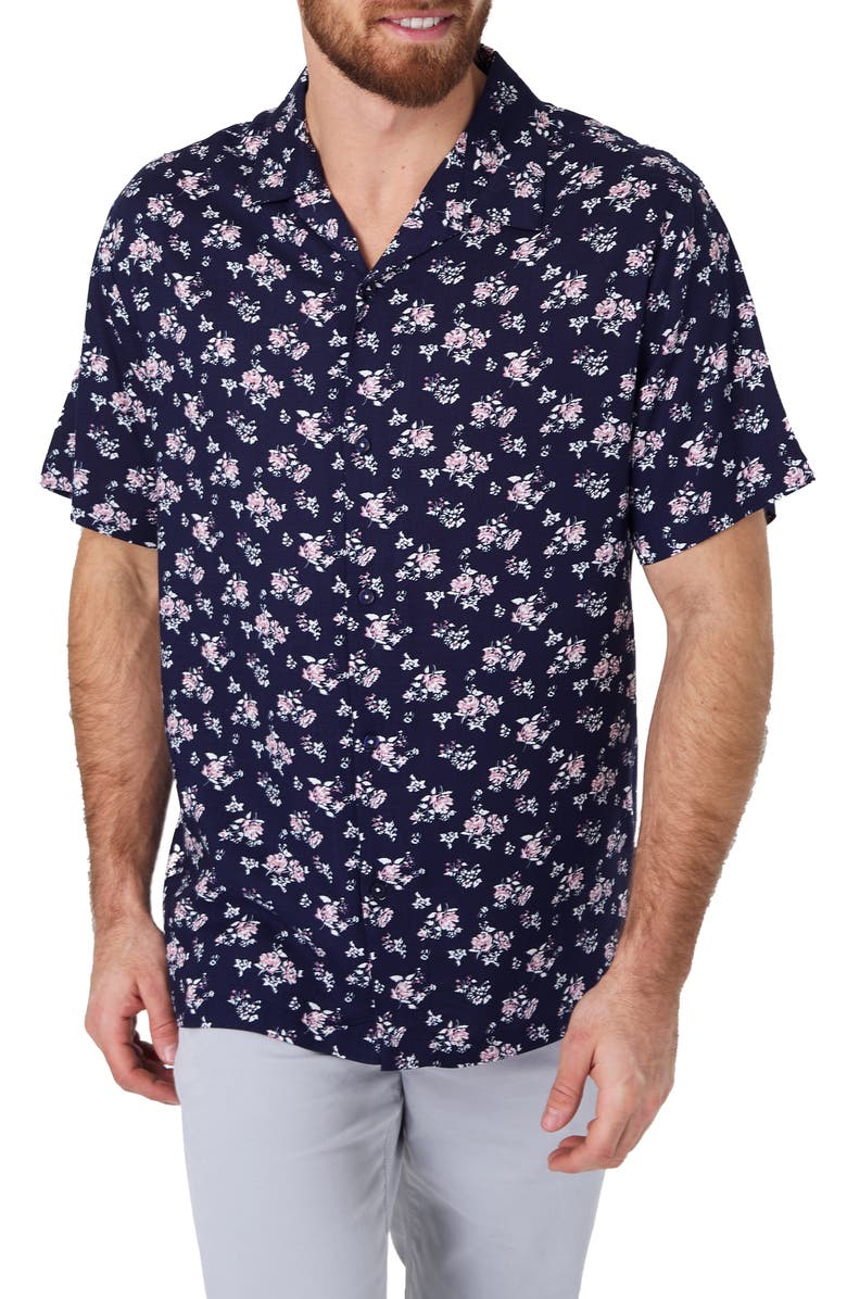 7 DIAMONDS Johnny B Goode Slim Fit Floral Camp Shirt, Main, color, NAVY