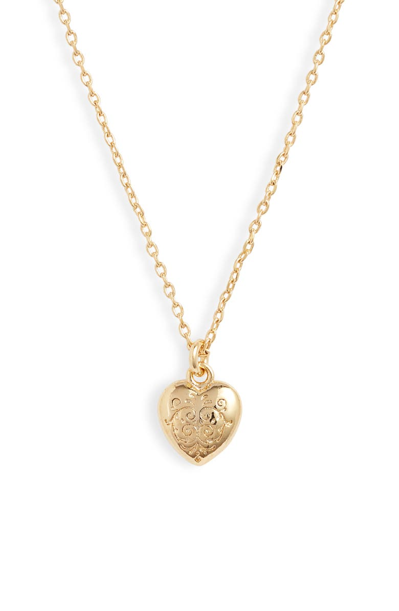 ESTELLA BARTLETT Engraved Heart Pendant Necklace, Main, color, 710