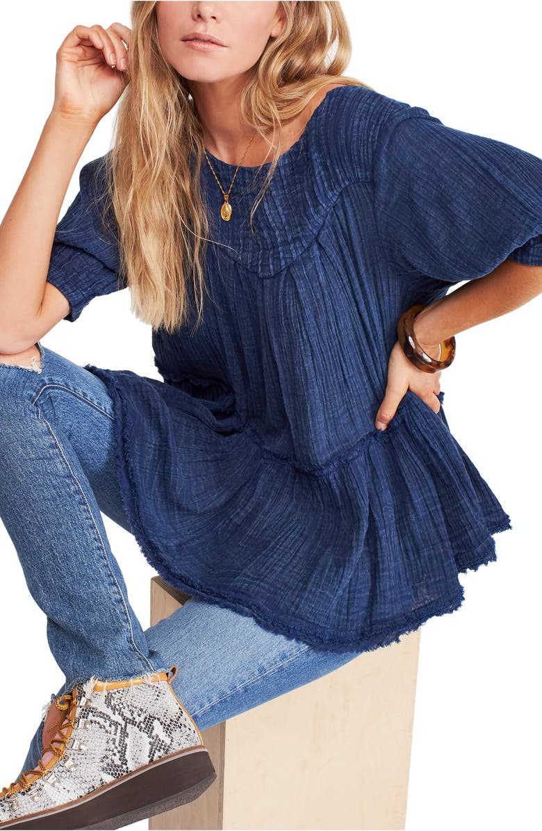 FREE PEOPLE Mystery Land Tunic, Main, color, INDIGO BLUE