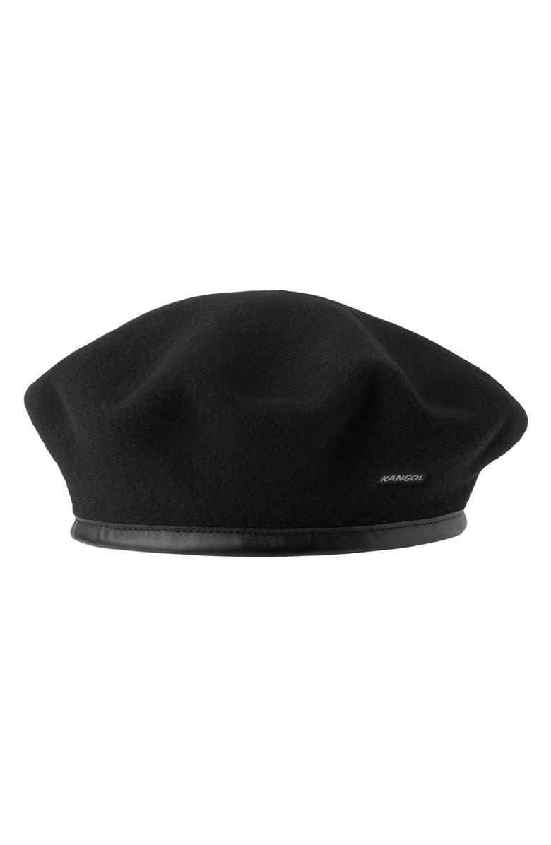 KANGOL Monty Wool Beret, Main, color, BLACK